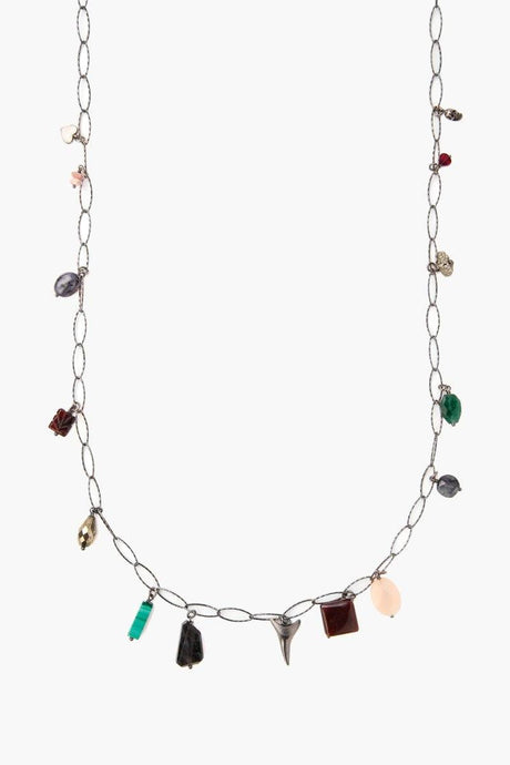 Garnet Mix Charm Long Necklace