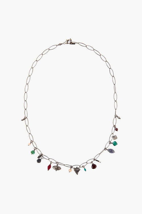 Garnet Mix Charm Short Necklace