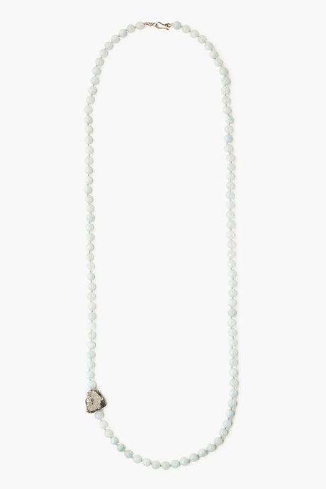 Aquamarine Beaded Long Necklace