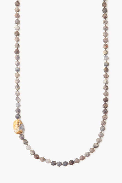 Matte Iolite Beaded Long Necklace