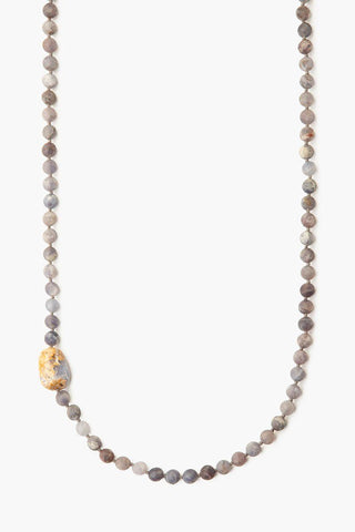 Tiered White Mix and Cameo Charm Necklace