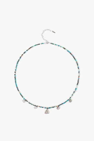 Chrysocolla Beaded Squash Blossom Charm Necklace