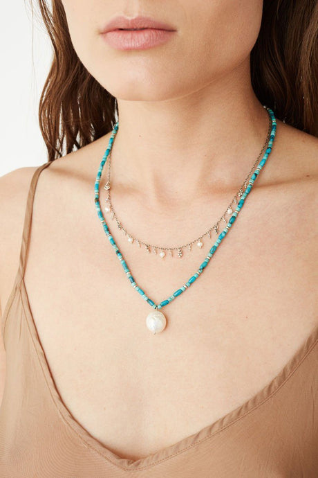 Turquoise Mix and Baroque Pearl Layered Necklace