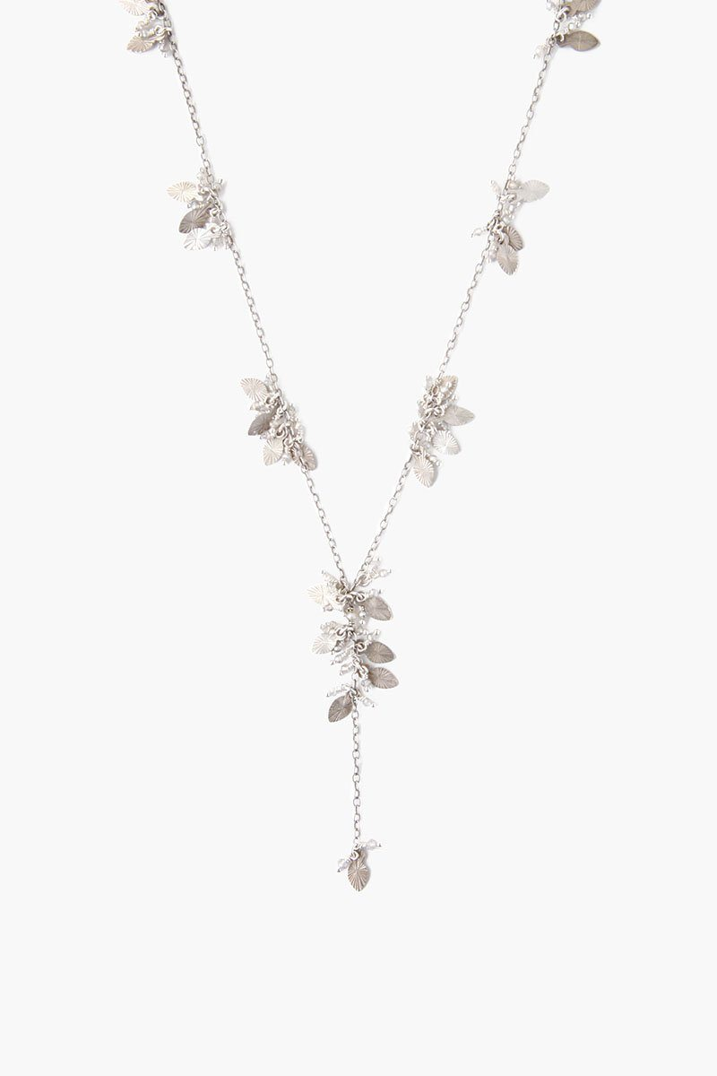 Silver Mix Leaf Charm  Y Necklace