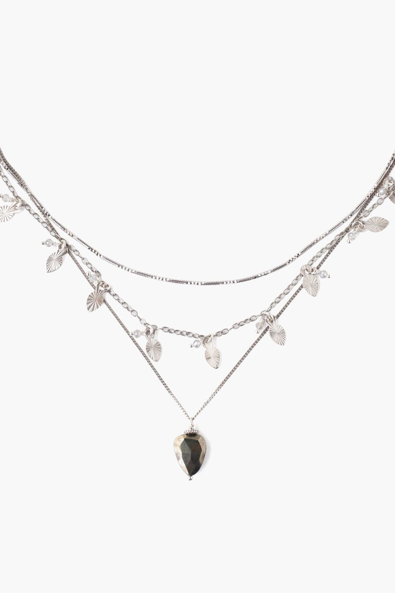 Silver Mix Leaf Charm Necklace