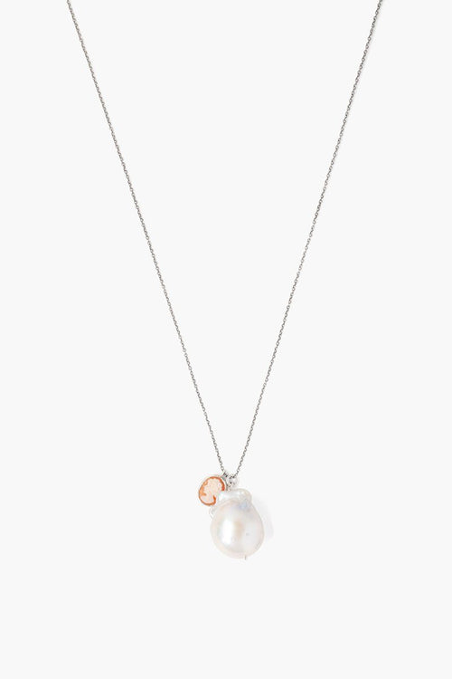 White Baroque Pearl and Cameo Charm Necklace