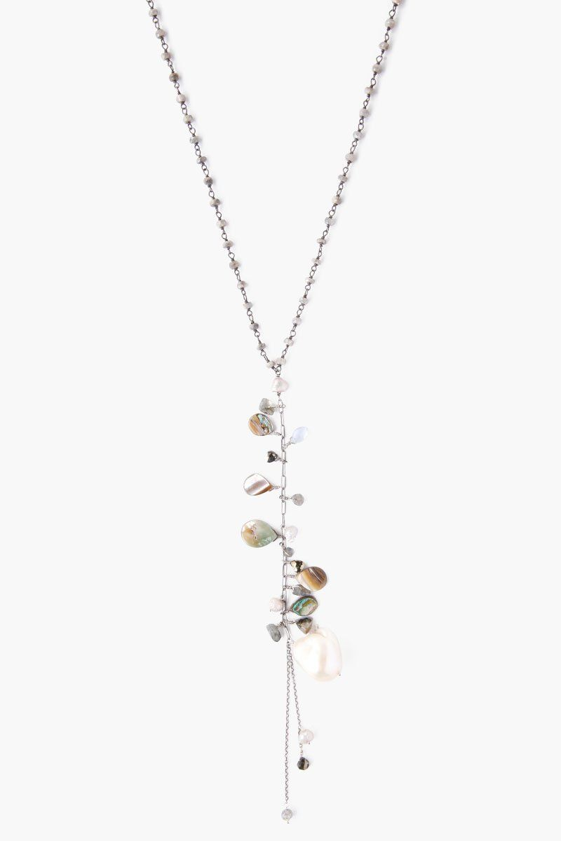 Abalone Mix and White Baroque Pearl Necklace