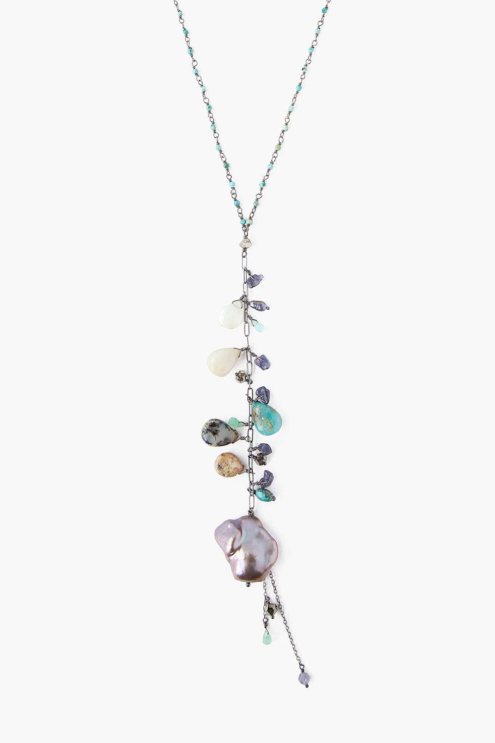 Turquoise Mix and Dark Champagne Baroque Pearl Necklace