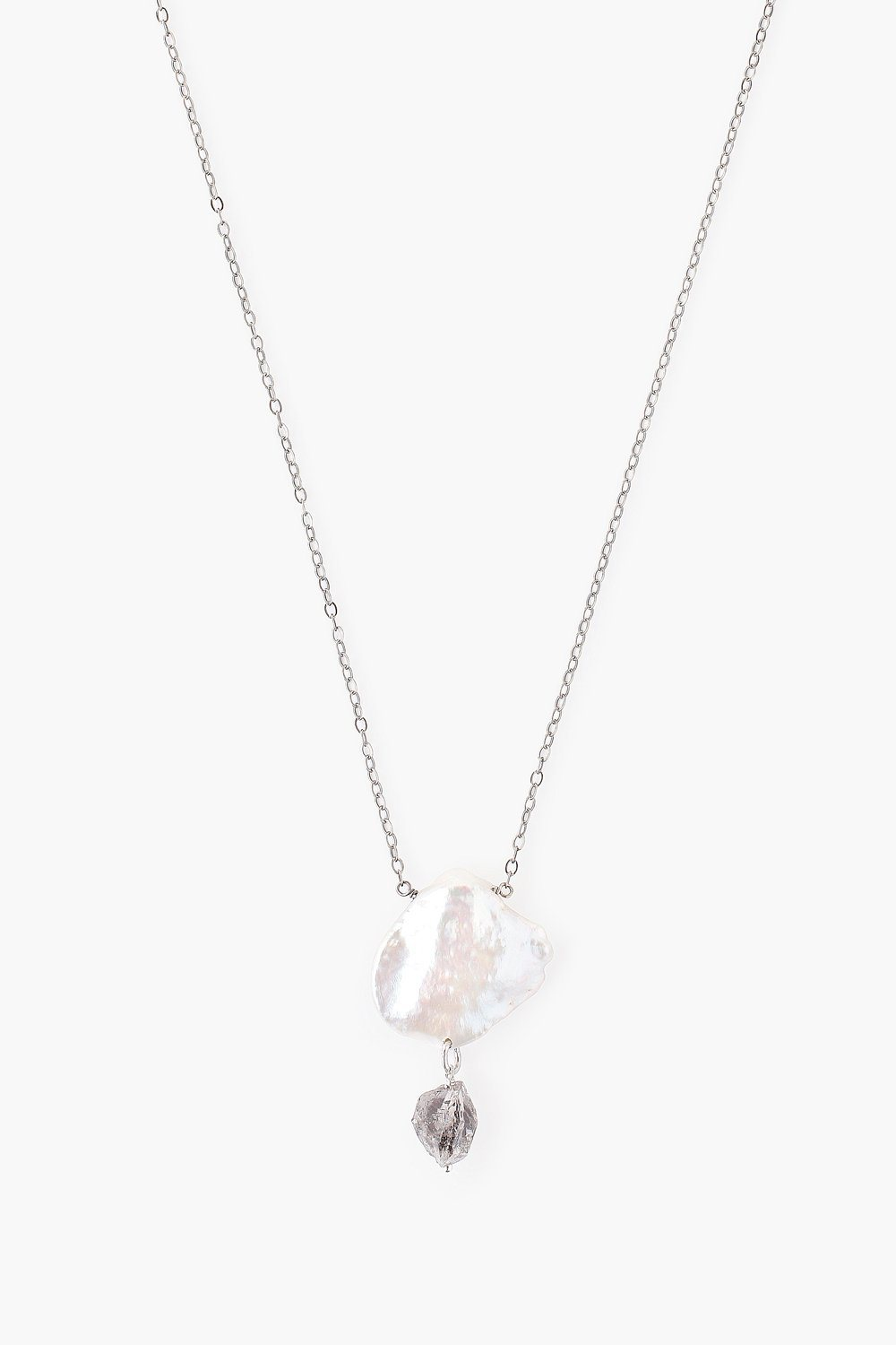 White Keshi Pearl and Herkimer Quartz Silver Necklace