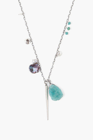 Sliced Amazonite Mix Dagger Charm Necklace