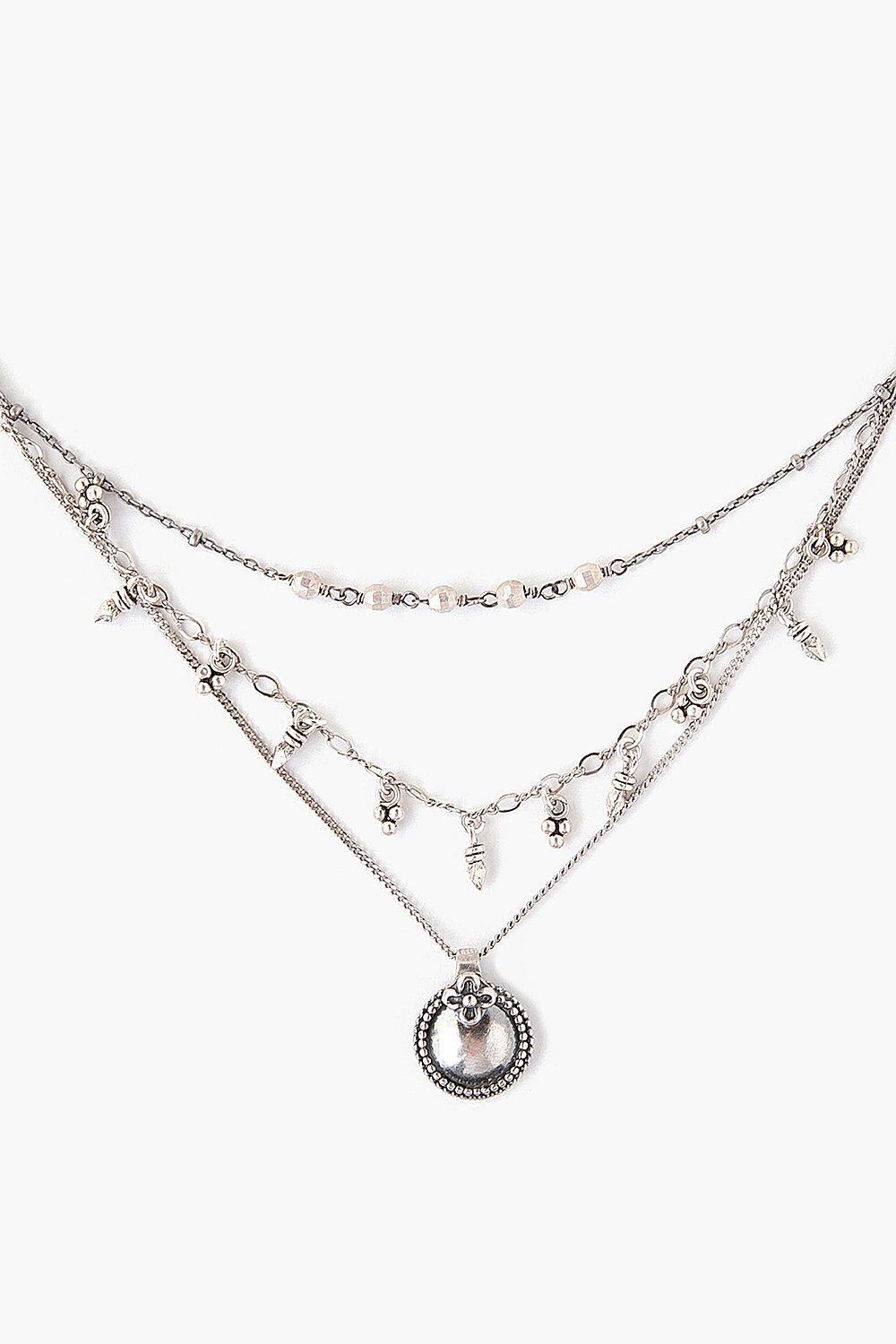 Silver Coin Charm Pre-Layered Necklace