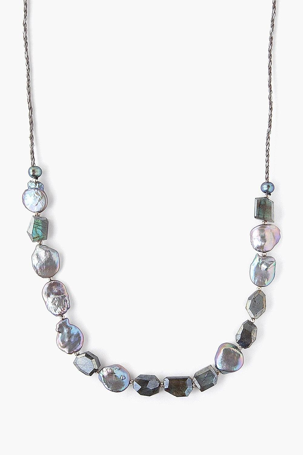 Grey Pearl Mix Cord Necklace