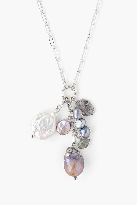 Silver Mix Baroque Pearl Ring Charm Necklace