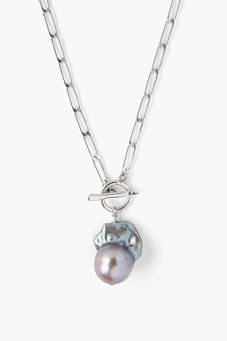 Grey Baroque Pearl Silver Toggle Necklace