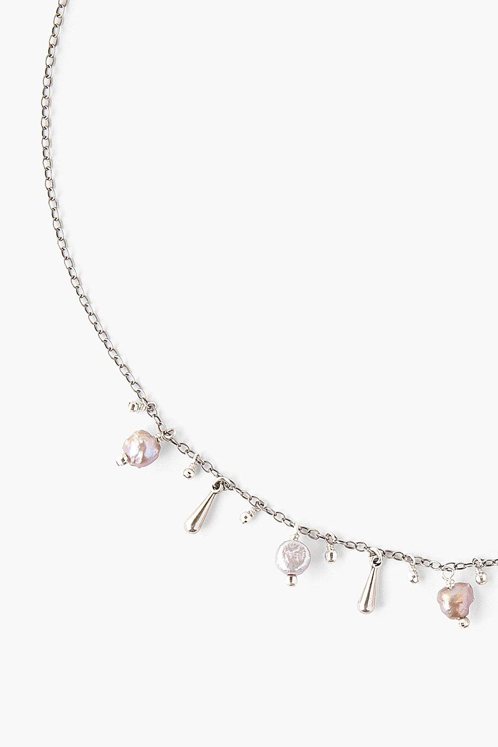Peacock Grey Pearl Charm Necklace