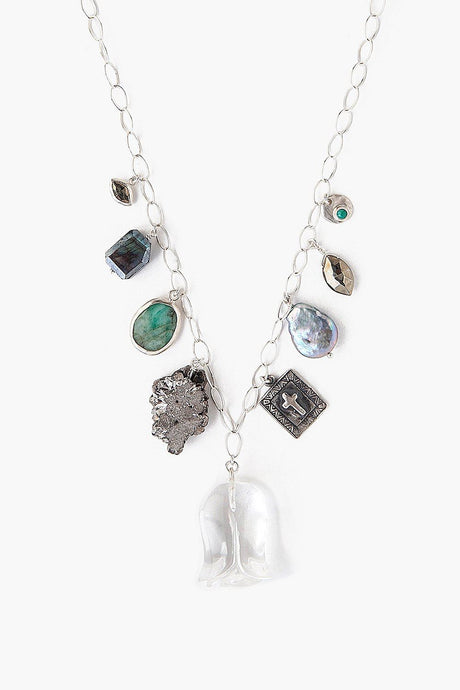 Clear Quartz Mix Charm Necklace