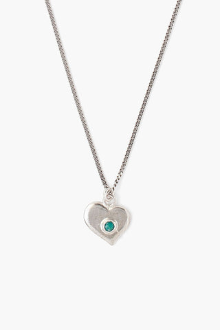 Green Turquoise Silver Heart Charm Necklace