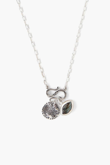 Labradorite Evil Eye and Coin Charm Necklace