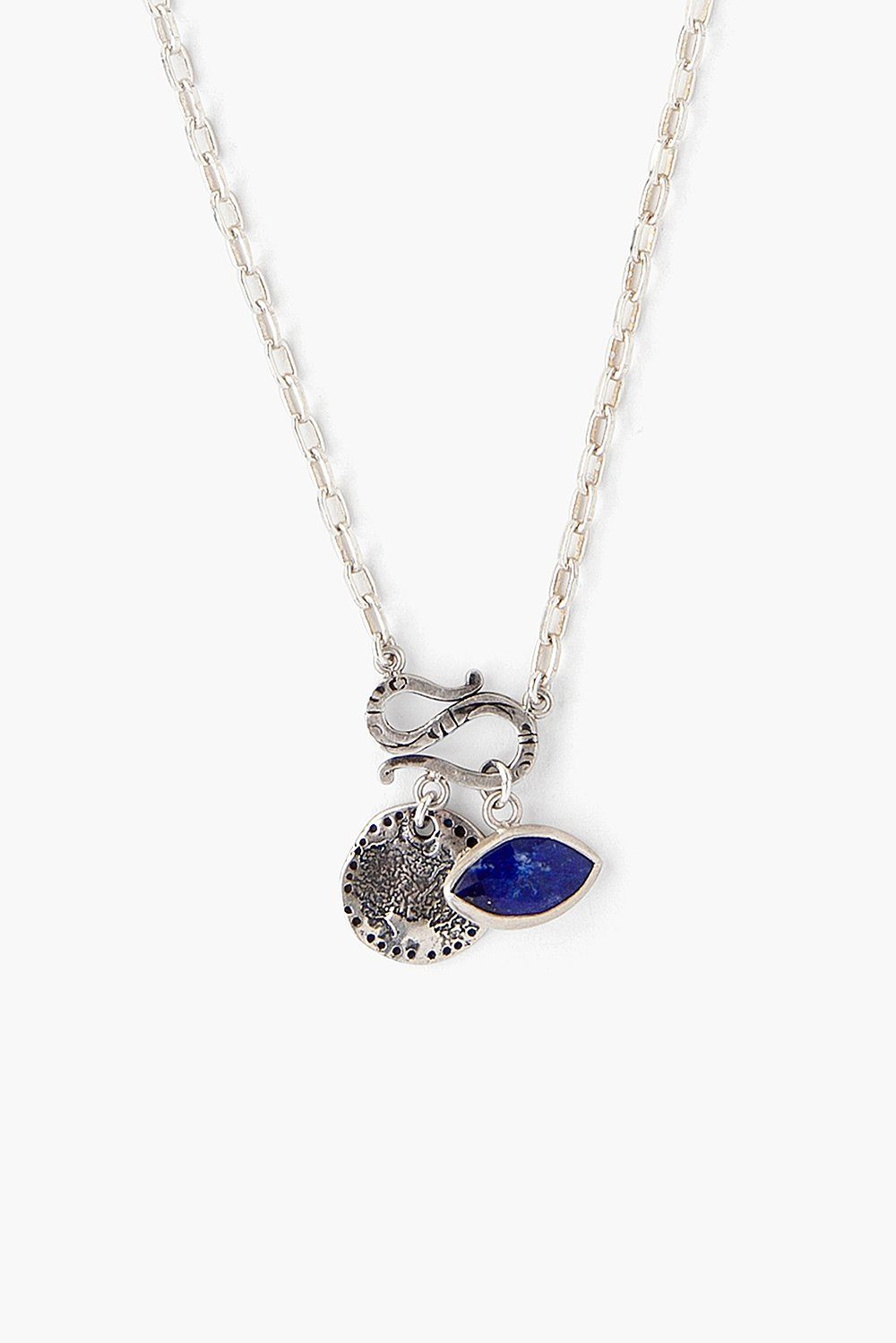 Lapis Evil Eye and Coin Charm Necklace