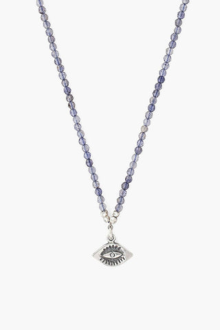 Iolite and Evil Eye Pendant Necklace