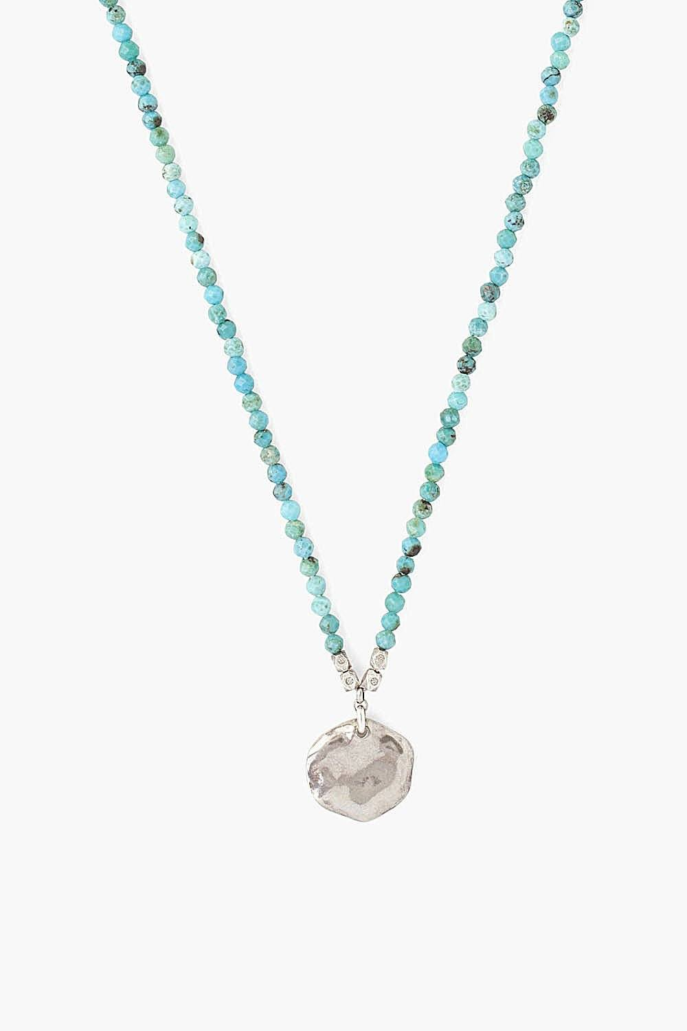Turquoise and Silver Coin Pendant Necklace