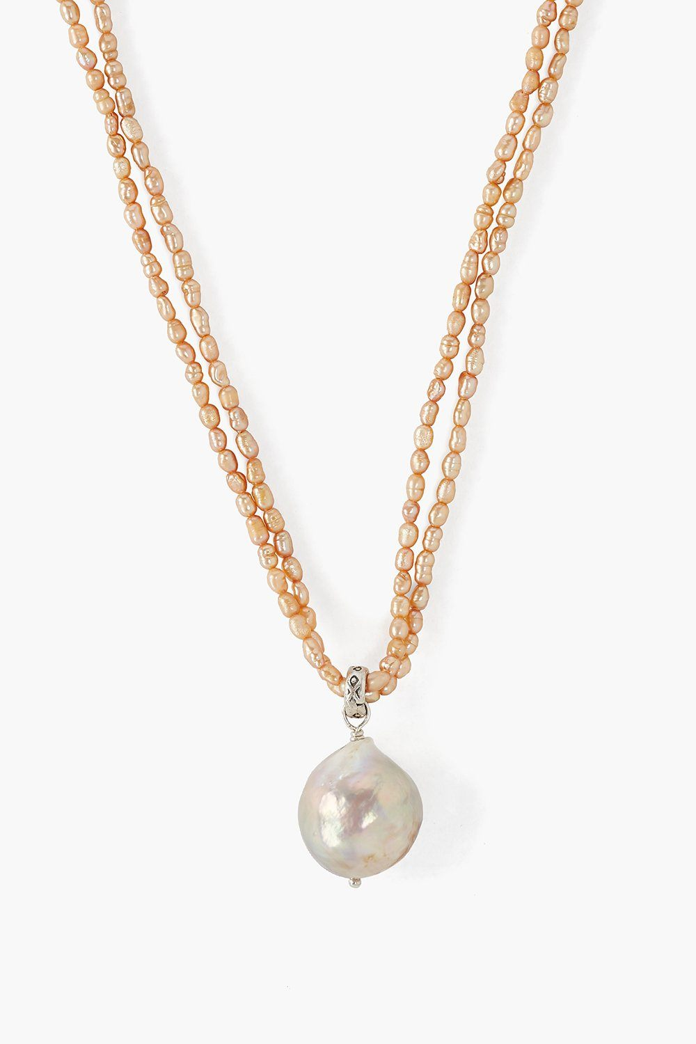 Pink Baroque Pearl Color Block Necklace