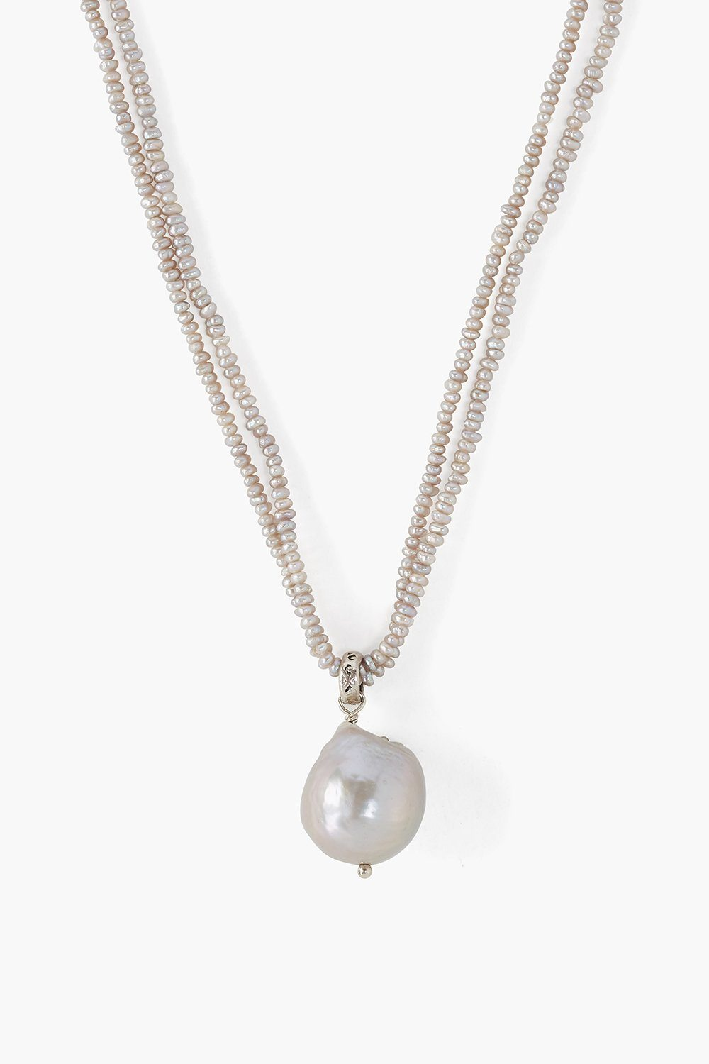 Grey Baroque Pearl Color Block Necklace