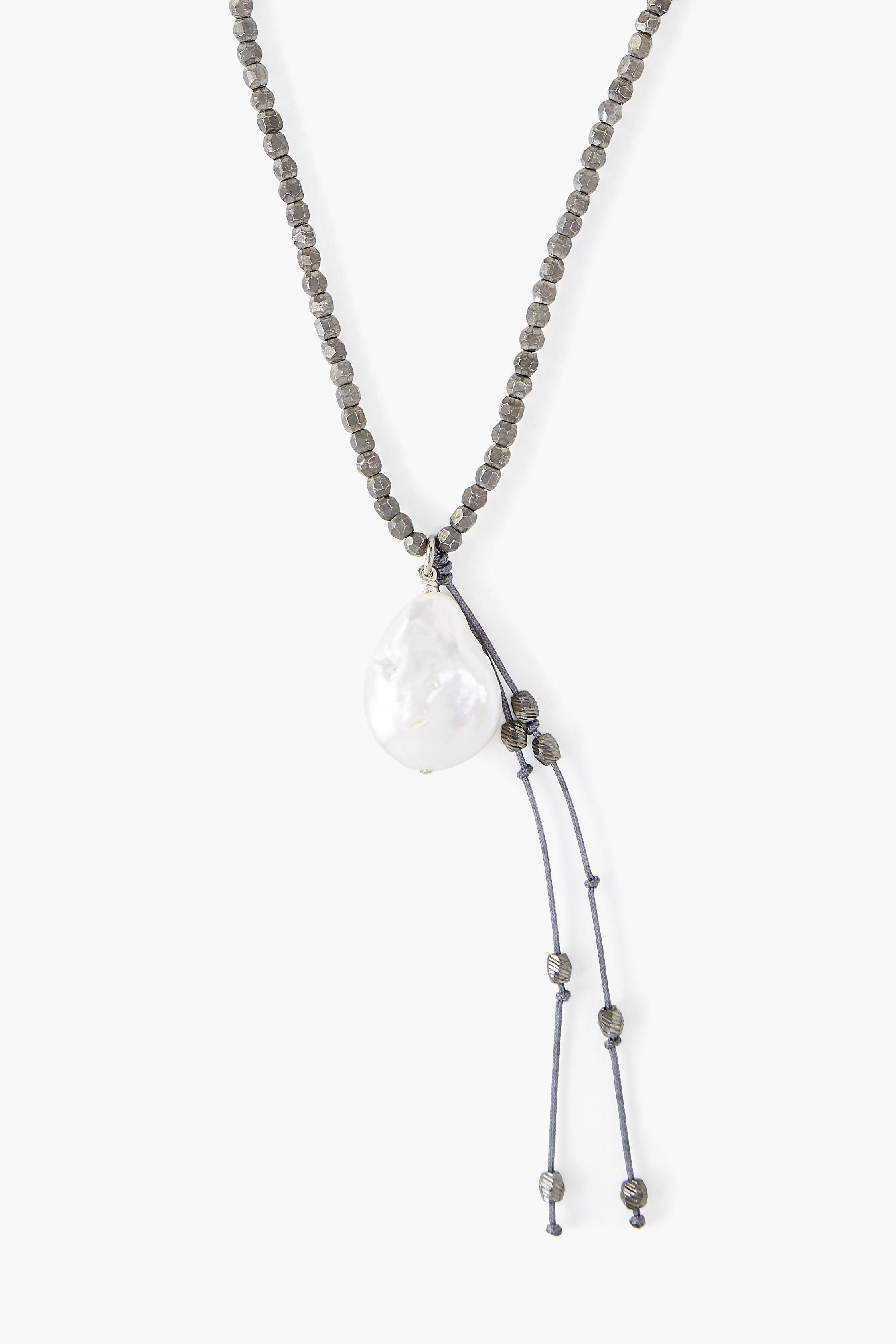 Gunmetal White Coin Pearl Tassel Necklace