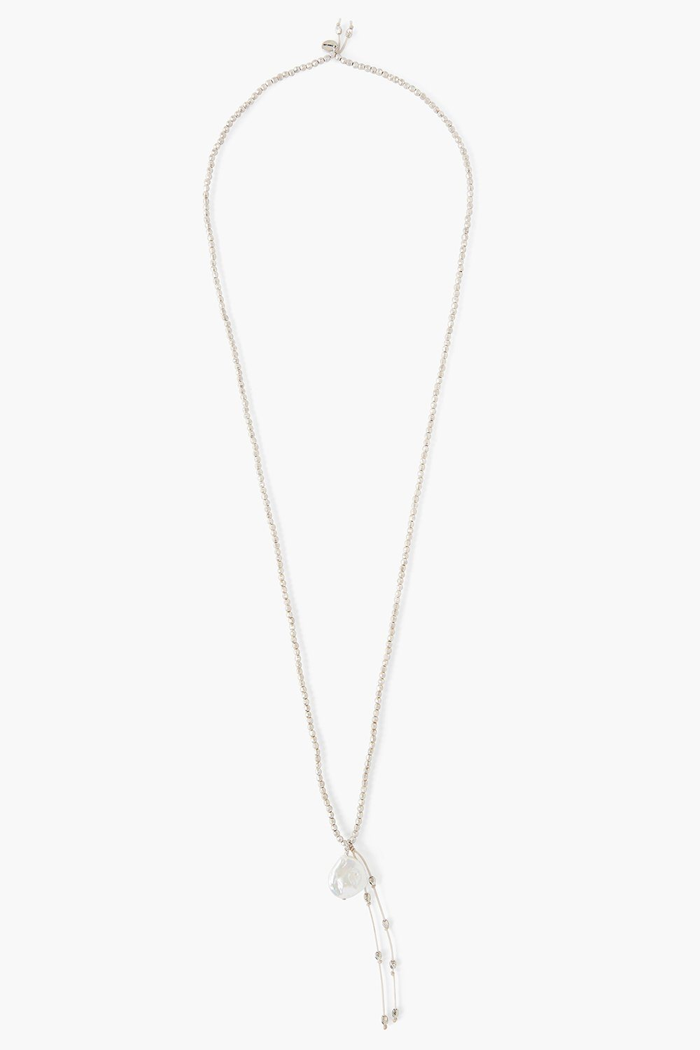 Silver White Coin Pearl Tassel Necklace