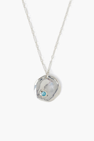 December Light Turquoise Birthstone Coin Pendant Necklace
