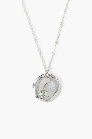 August Peridot Birthstone Coin Pendant Necklace