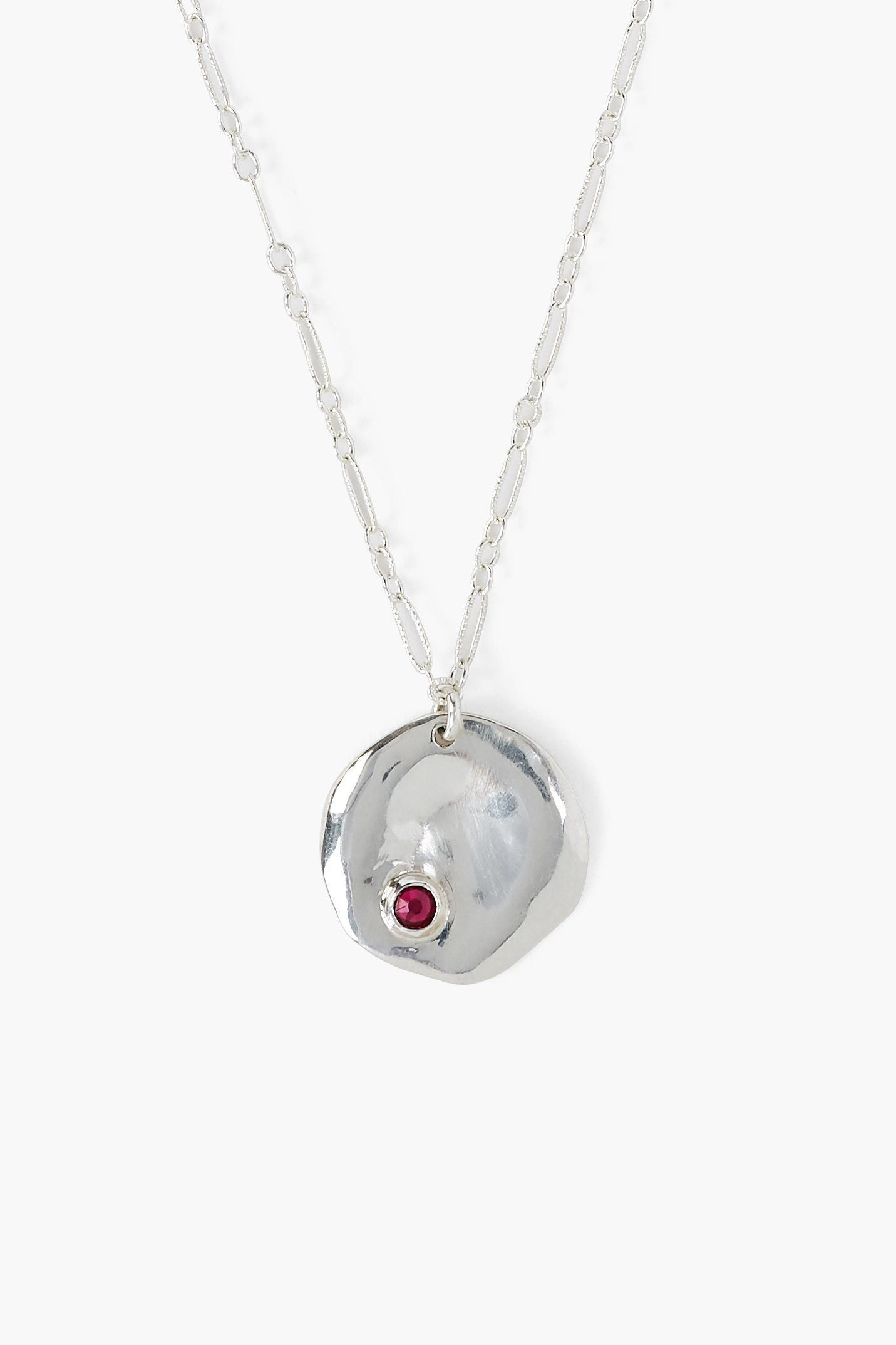 July Ruby Birthstone Coin Pendant Necklace
