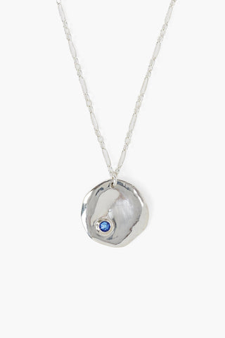 September Sapphire Birthstone Coin Pendant Necklace