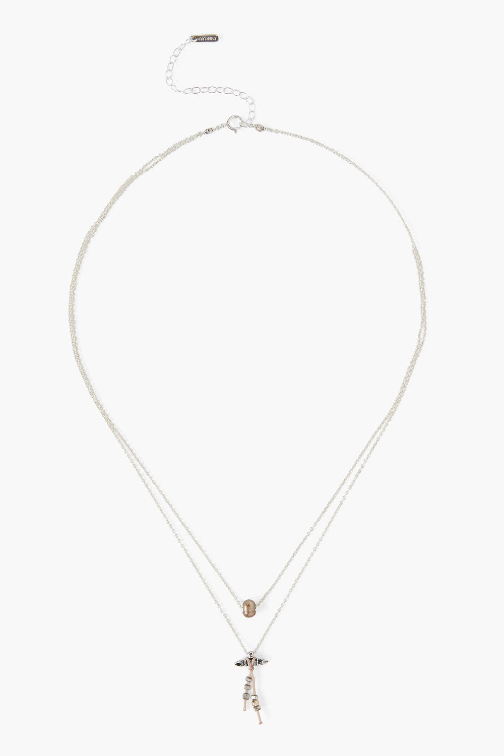 Taupe Pearl Tasseled Layer Necklace