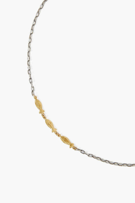 Gold Silver Mix Minnow Chain Necklace