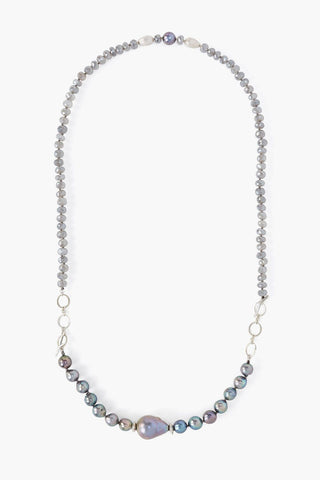 2-in-1 Peacock Blue Pearl Mix Toggle Necklace
