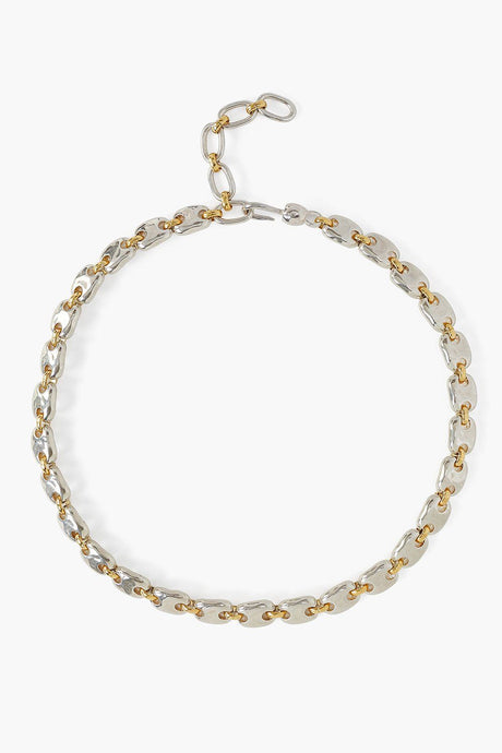Gold and Silver Mix Puff Chain Necklace