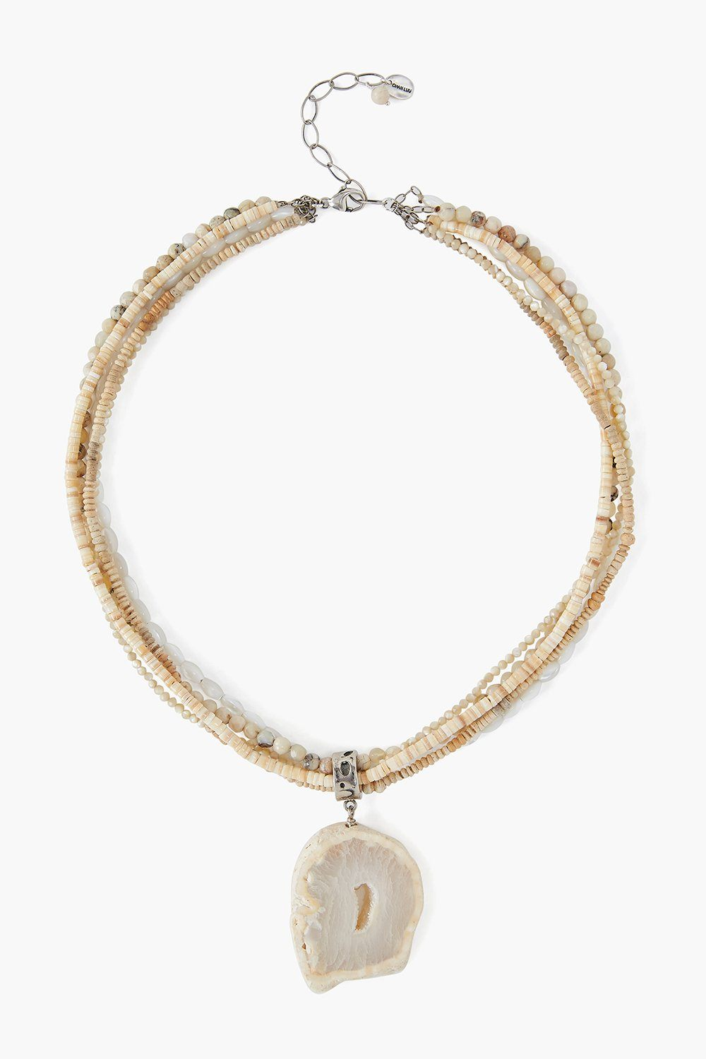 White Druzy Agate Multi Strand Necklace