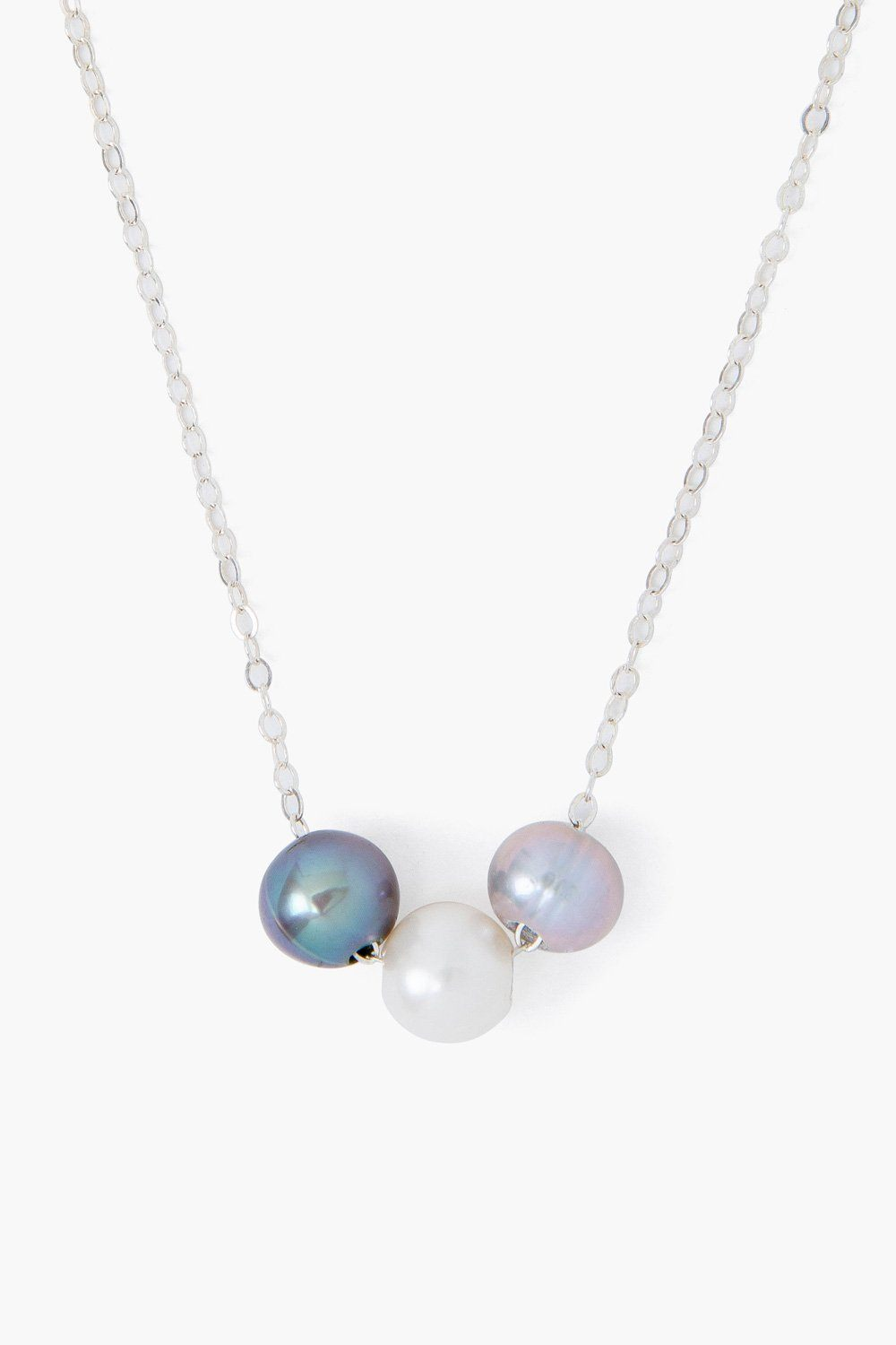 Grey Mix Pearl Trinity Necklace