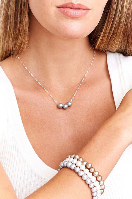 Grey Pearl Trinity Necklace