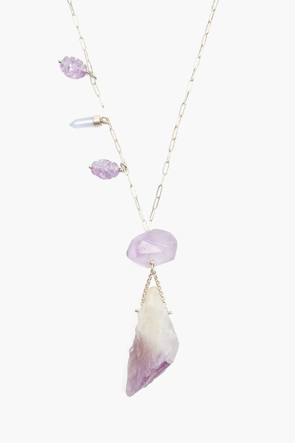 Amethyst Healing Stone Pendant Necklace