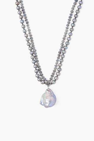 Grey Pearl Mix Baroque Pendant Necklace