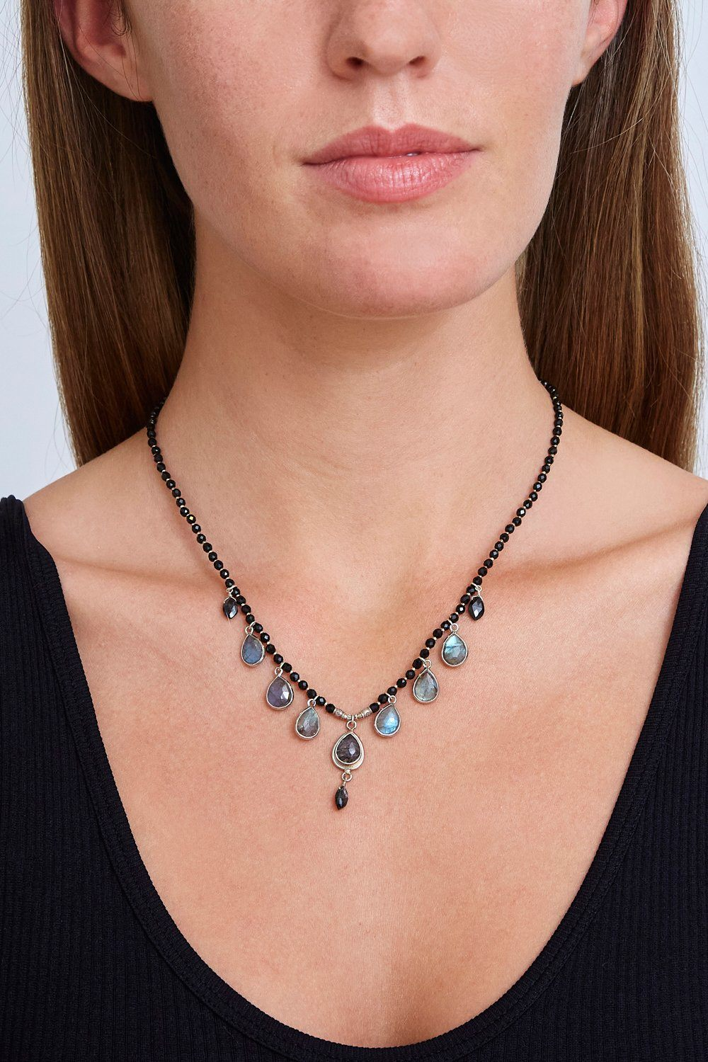Onyx Mix Chandelier Necklace