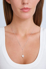 Grey Pearl Chip Silver Lariat Necklace