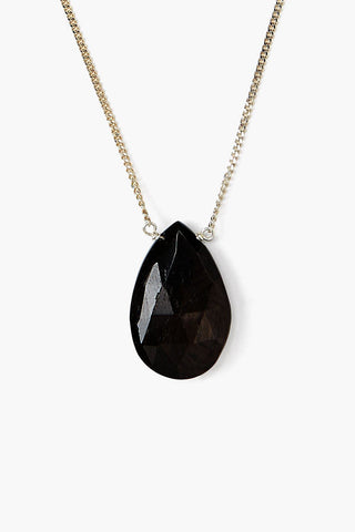Hypersthene Teardrop Pendant Necklace