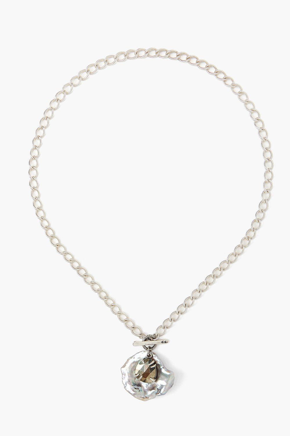 Pyrite and Grey Pearl Cable Chain Necklace
