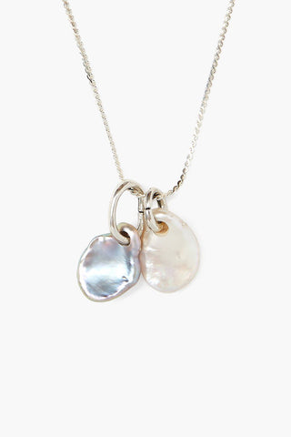 Double Pearl Silver Pendant Necklace