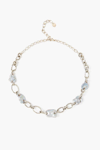 Grey Pearl Silver Chain Link Necklace