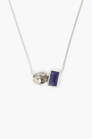 Pyrite and Lapis Healing Stone Duo Necklace