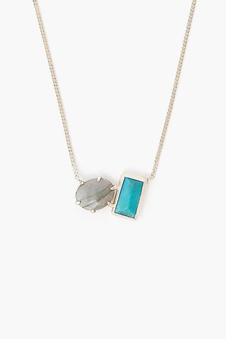 Labradorite and Turquoise Healing Stone Duo Necklace